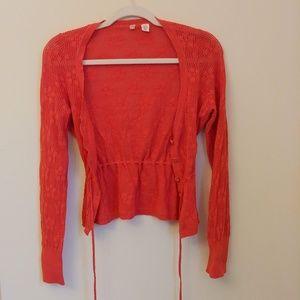 Moth Anthro Red Cardigan Knit Drawstring Size S
